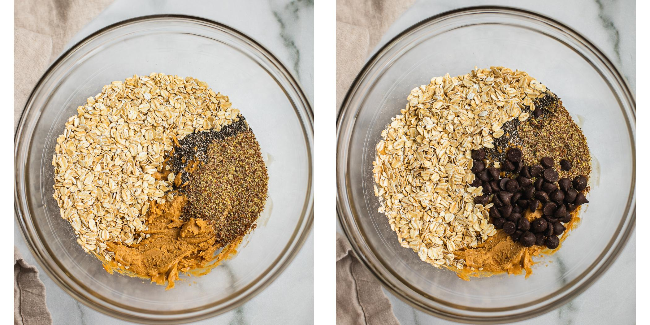 Instruction on how to make peanut butter oatmeal energy bite in a bowl without baking required.