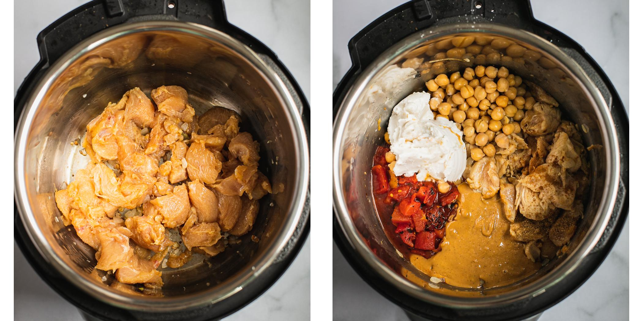 Instruction on how to make peanut butter chicken in an instant pot.