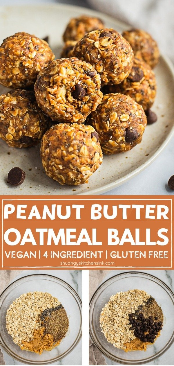 A plate of peanut butter oatmeal balls. There is a bite on the top one. There are a few chocolate chips on the plate and table. Pinterest image.