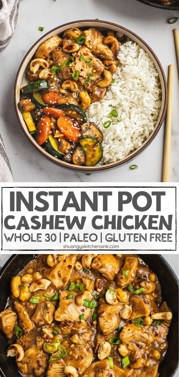 A bowl of cashew chicken and stir fried veggies and a side of jasmine rice. Pinterest Image