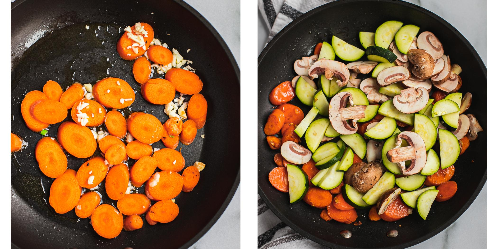 There are two pictures. On the left there is a pan with carrots and garlic being sautéed.. On the right more vegetables has been added