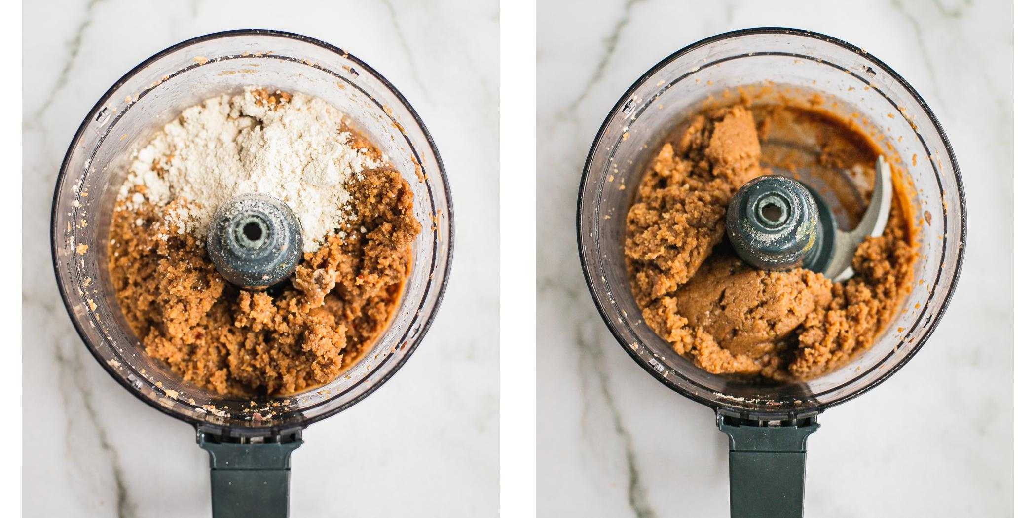 Step by step instruction on how to make healthy peanut butter fudge in a food processor