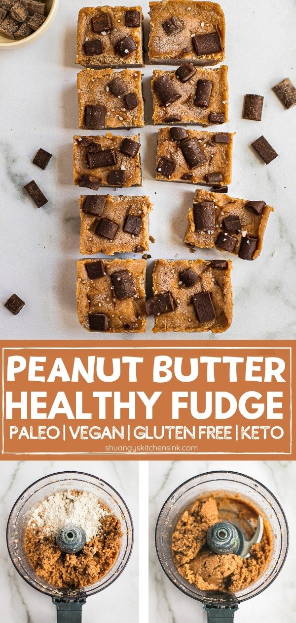 Finished healthy peanut butter fudge topped with chocolate chips. Pinterest Image