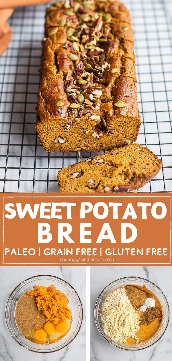 A loaf of sweet potato bread on a cooling rack. There are sprinkles of pumpkin seeds and pecans on top. Pinterest Image