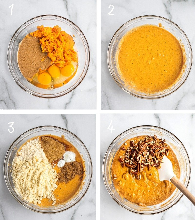 Instructions to make sweet potato bread step by step.