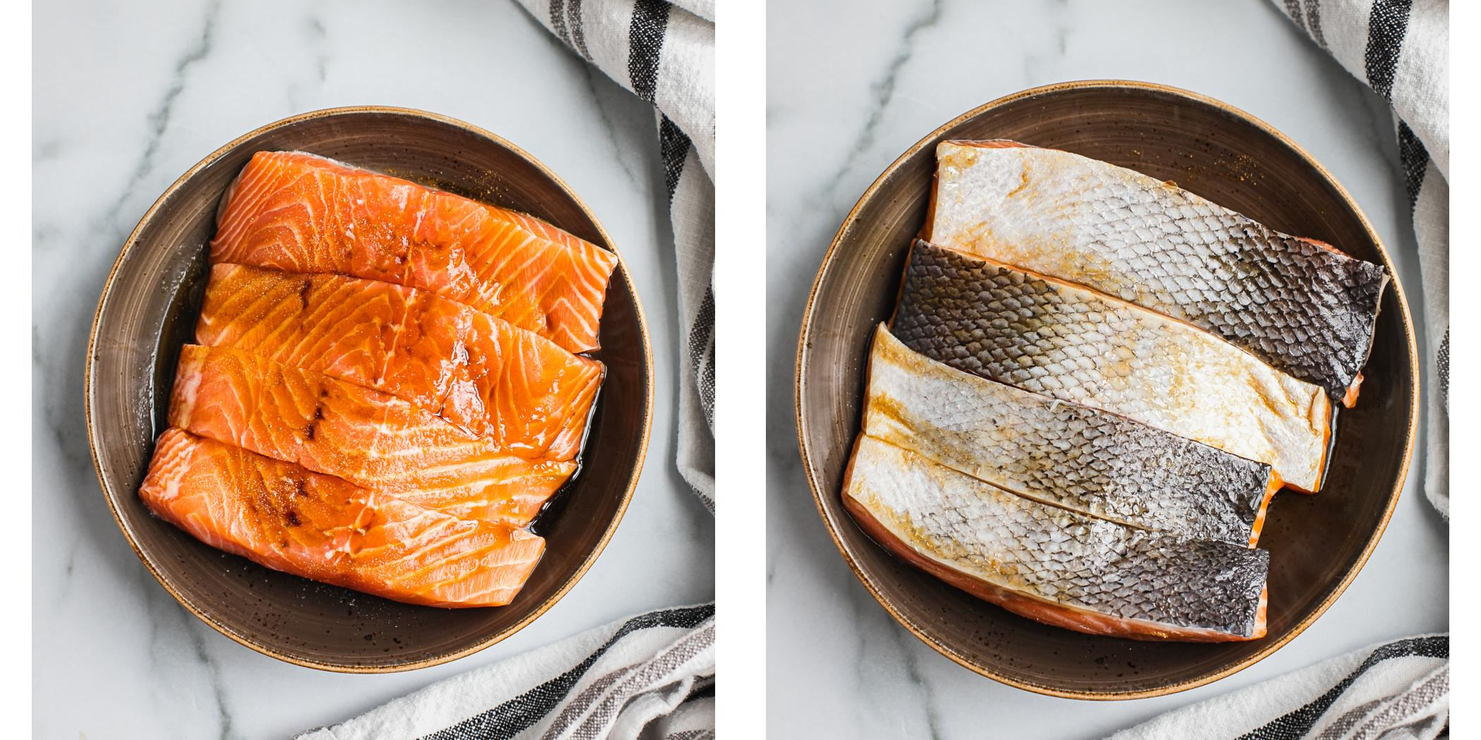 Instruction on how to marinate salmon to pan sear for crispy teriyaki salmon.