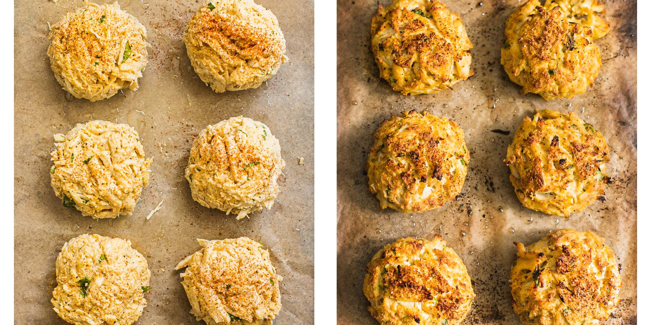Direction on how to broil crab cakes in the oven. Before and After Photo.