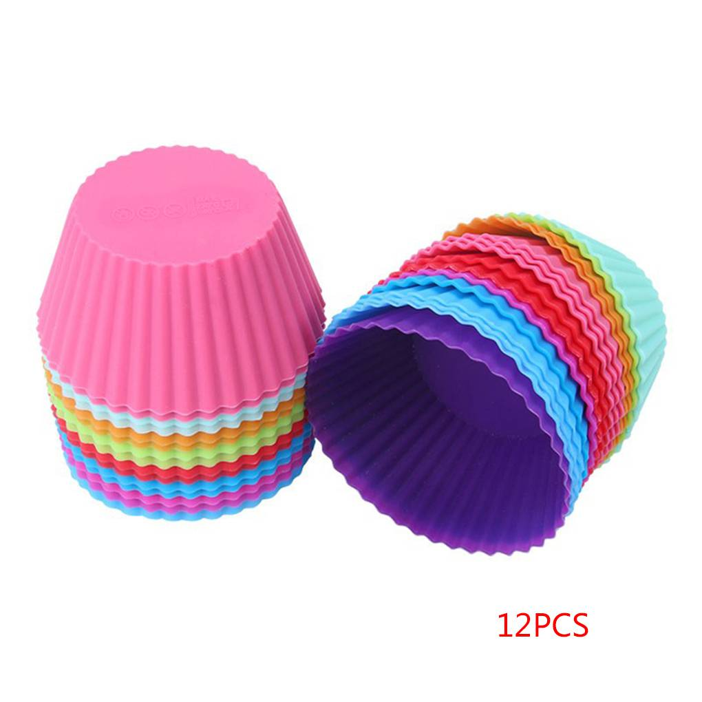 12PCS Small Silicone Colorful Round Cupcake Liners Baking Cups