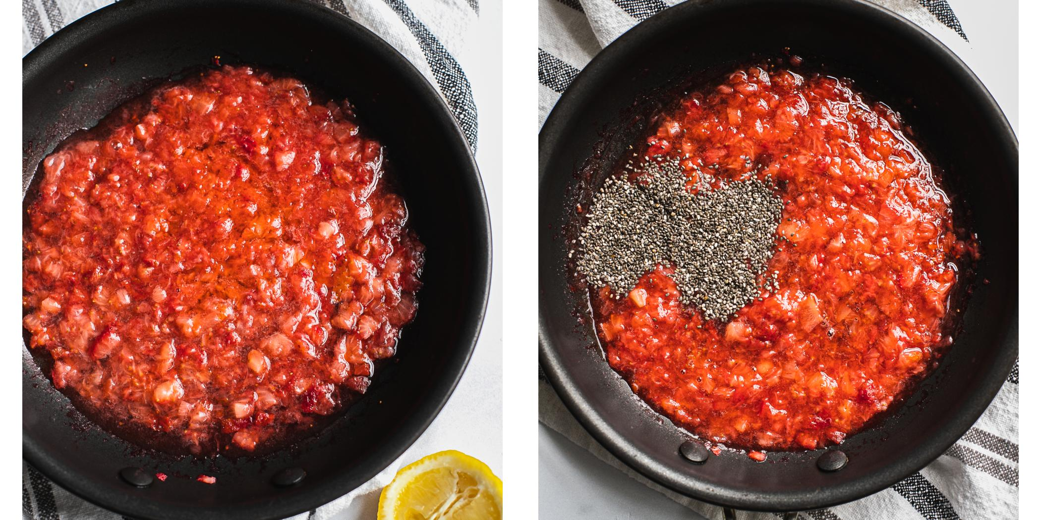 Step by Step instruction on how to make strawberry chia jam.