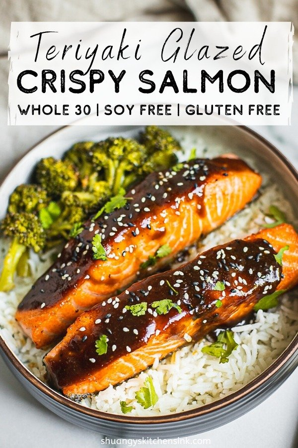 A bowl crispy teriyaki glazed salmon served with rice and broccoli. Pinterest Image.