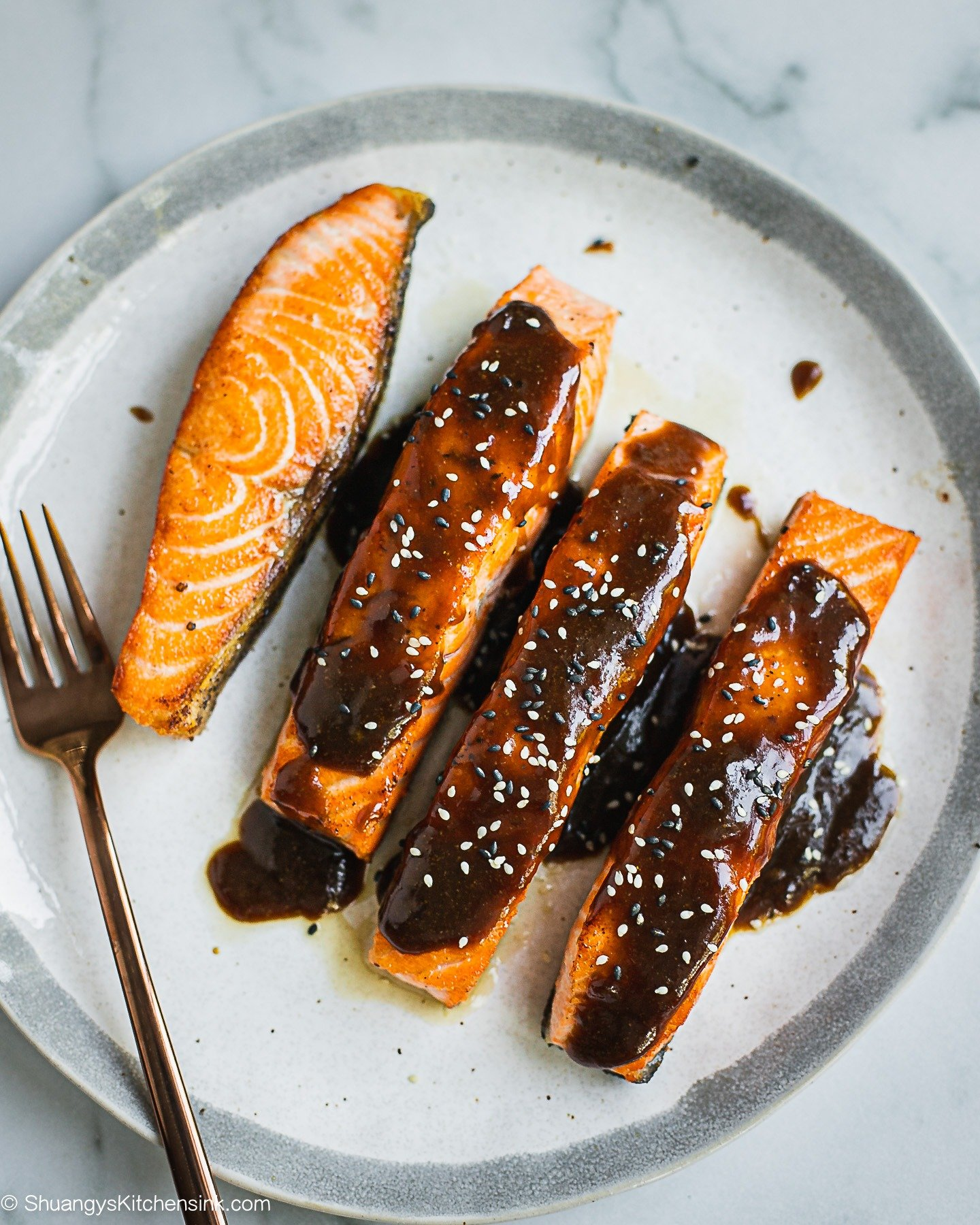 Pan seared teriyaki salmon glazed with teriyaki sauce