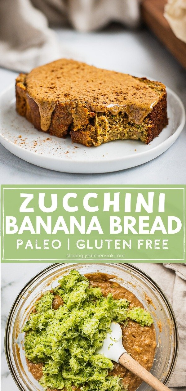 Zucchini Banana Bread {Paleo, Gluten Free} | This easy and healthy zucchini banana bread is so soft, fluffy, moist. It is Paleo and gluten-free, perfect for breakfast, dessert, or a snack! The BEST healthy Zucchini Banana Bread ever. Made from wholesome ingredients like almond flour, almond butter and sweetened by bananas. It's perfect for the whole family to enjoy. | #zucchinibread #bananabread #healthydessert #healthybreakfast #paleodessert @Shuangy's Kitchen Sink