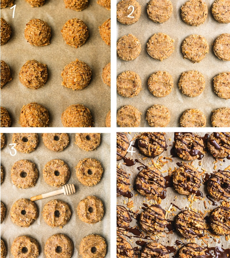 Step by step instruction on how to make samoas cookies.