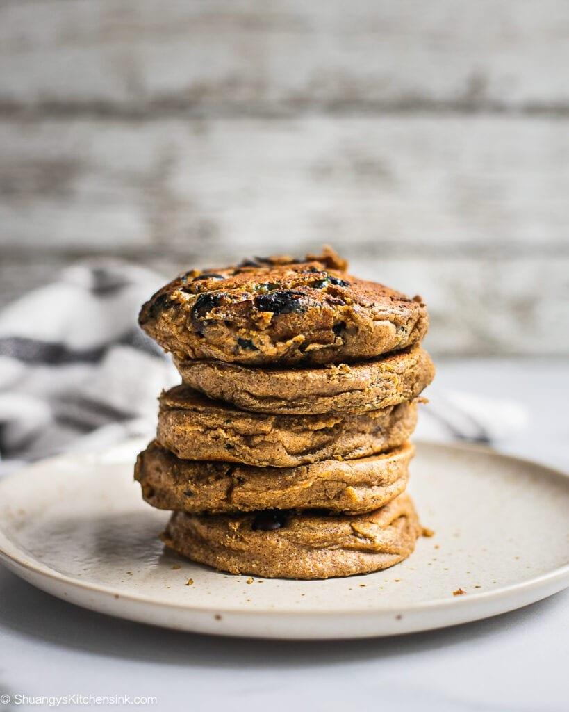 A stack of vegan blueberry banana pancakes
