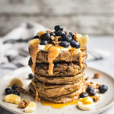 Vegan Oatmeal Pancakes with blueberries