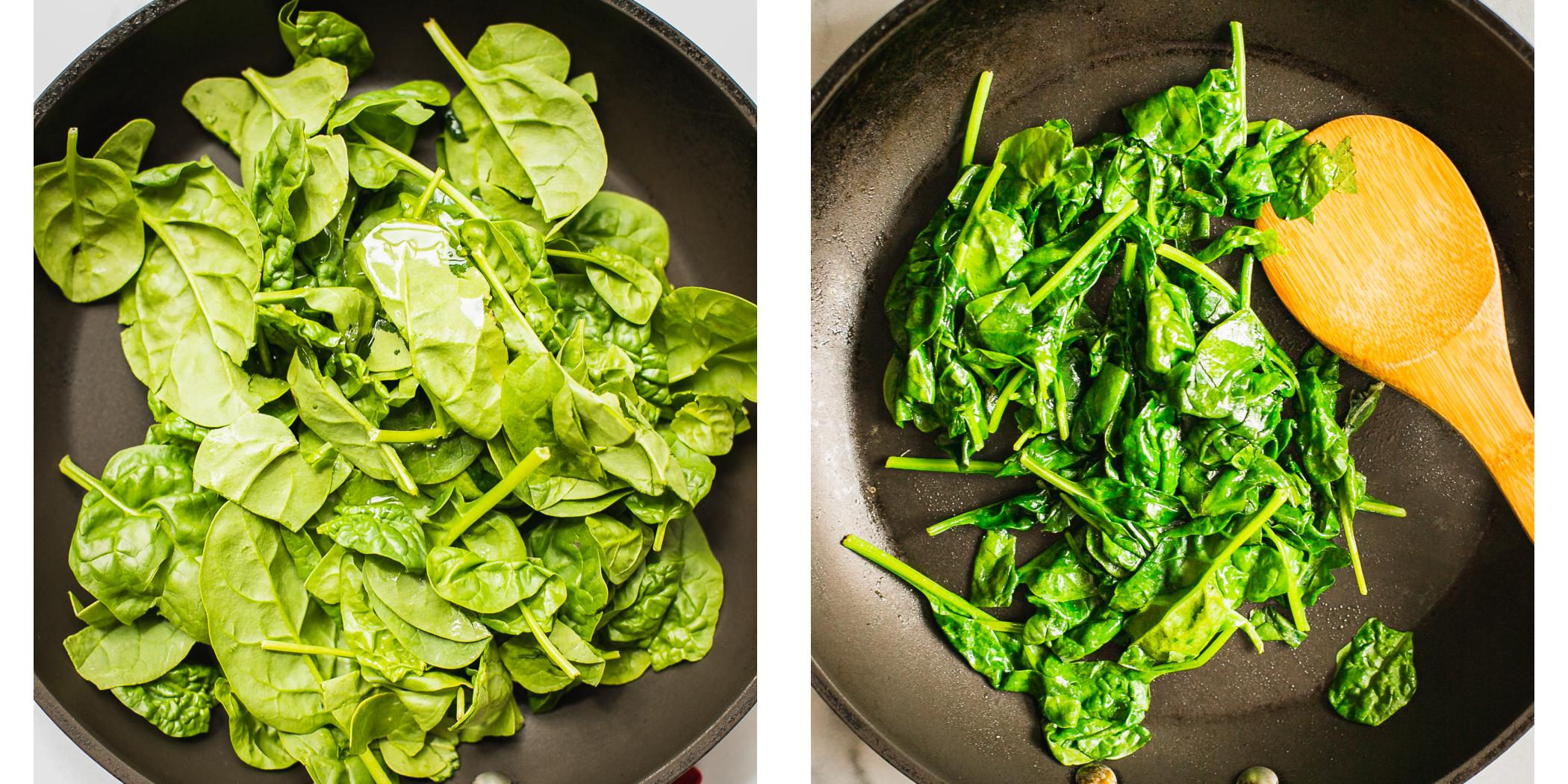 Before and After photo of baby spinach sautéed and raw.