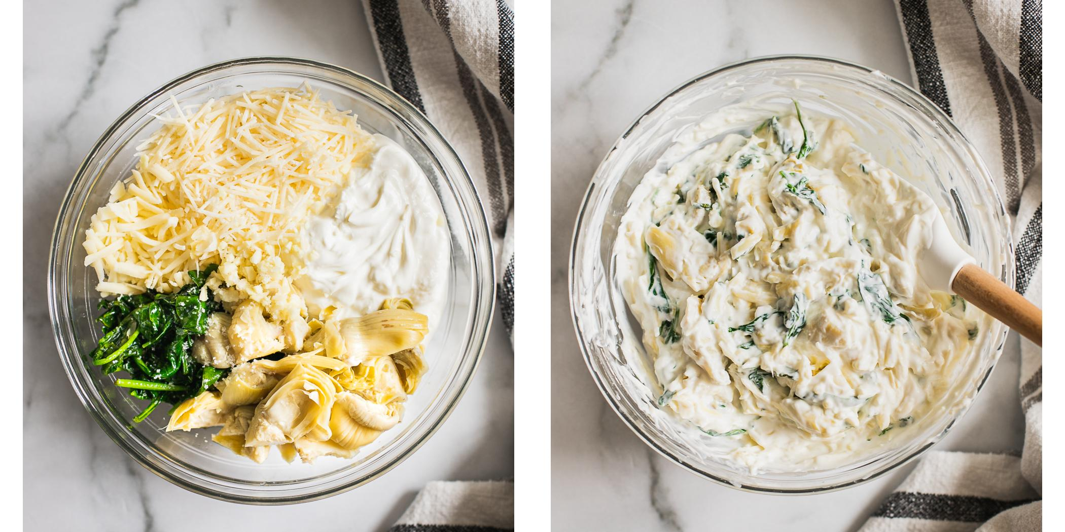 Ingredients for healthy spinach artichoke dip. Before and after photo of mixed ingredients together.