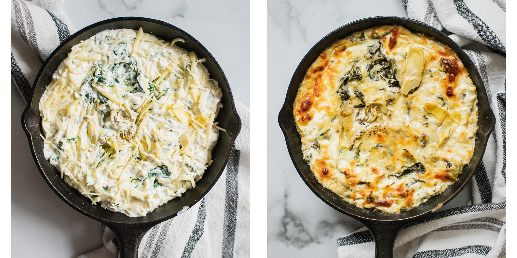 Before and After photo of ready for the oven and baked spinach artichoke dip.