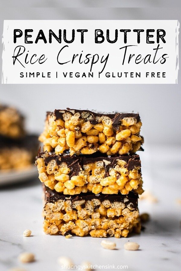 A stack of peanut butter rice crispy treats with peanut butter. There is a plate of them in the back as well.