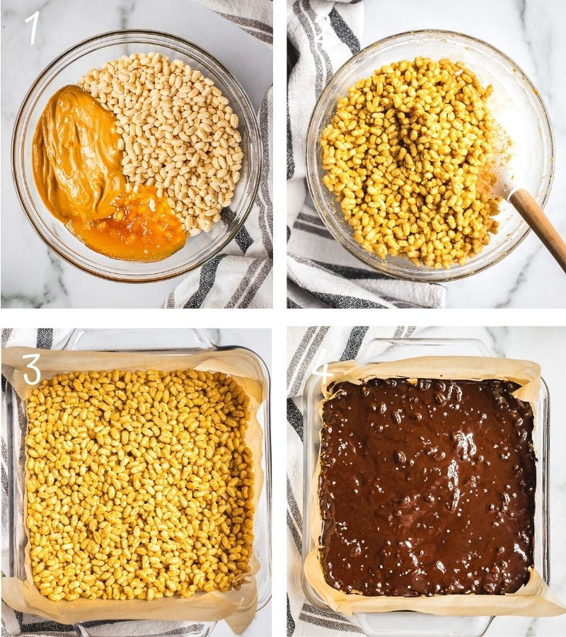 Instructions on how to make peanut butter rice crispy treats step by step