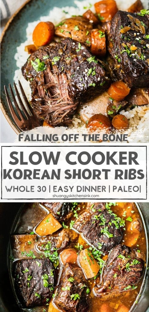 A plate of whole30 slow cooker korean short ribs are falling off the bone tender. Served with jasmine rice.