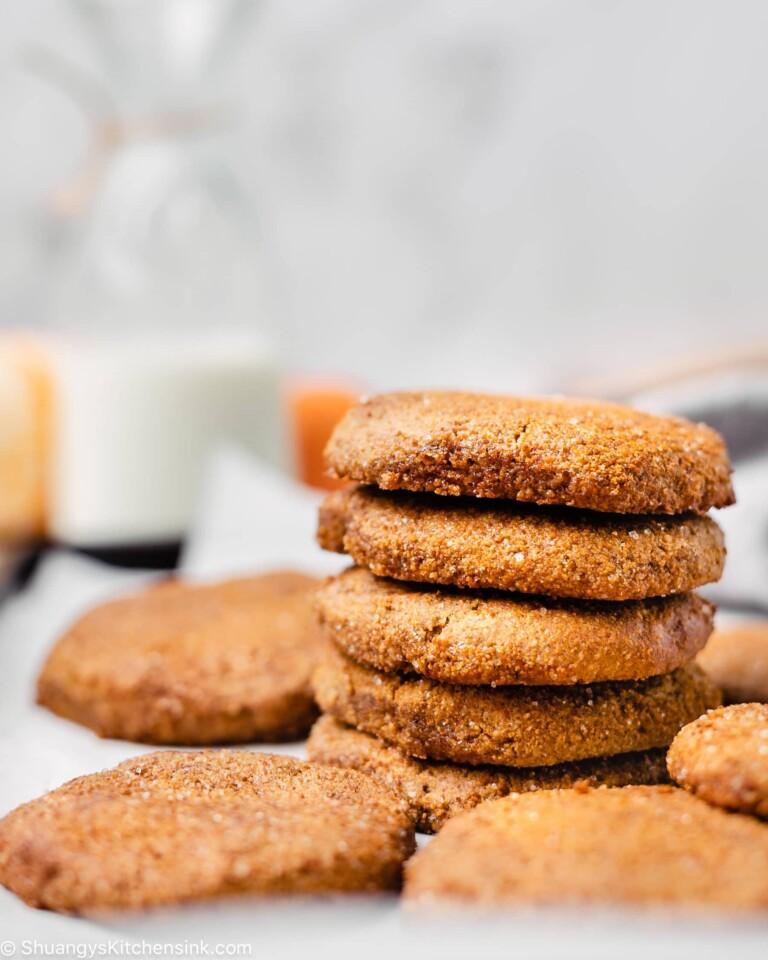 A stack of healthy pumpkin snickerdoodle cookies