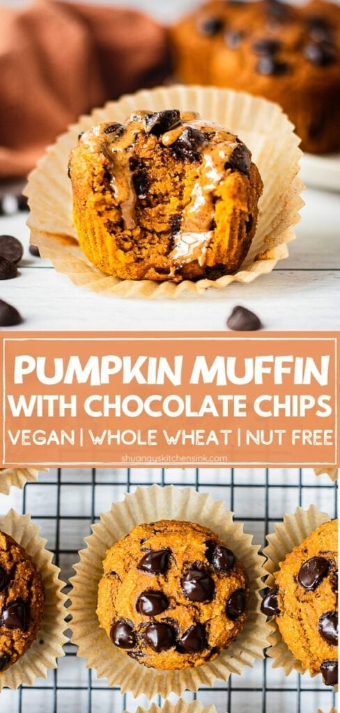 A piece of fluffy vegan pumpkin muffins with chocolate chips served with peanut butter. There is a bite.