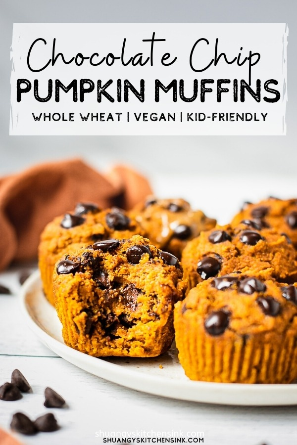 A plate of one bowl easy vegan pumpkin muffins with low sugar chocolate chips on top.