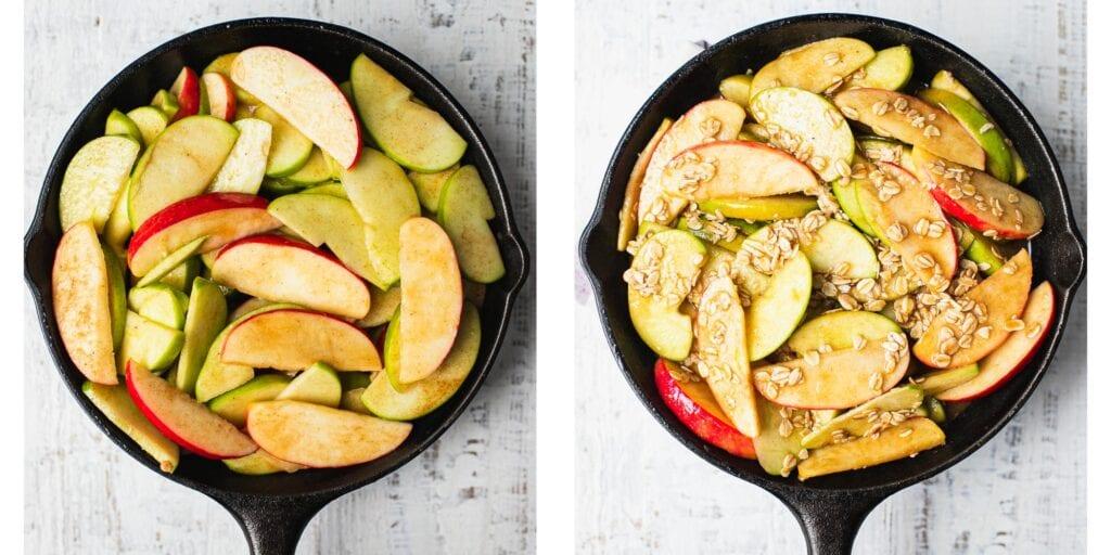 Step by Step instruction how making caramel apple crisp filling in one skillet.