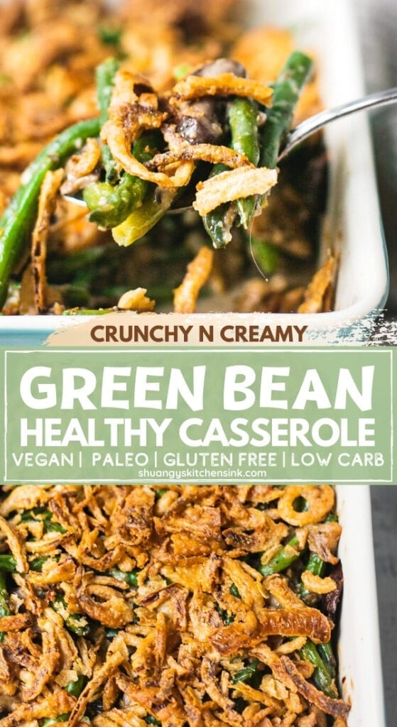 A pan of easy and healthy green bean casserole that has gluten free crispy onion on top, and cream mushroom soup with baked green greens.