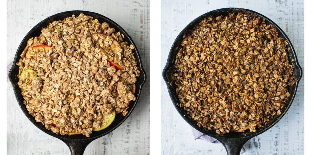 Before and after of freshly baked healthy apple crisp in a skillet.