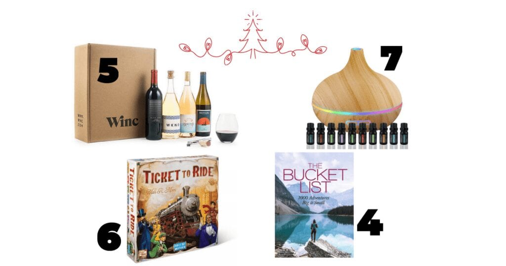 It's a collage of different wines, essential oils, a board game and a bucket list book. They all makes great gifts for a couple