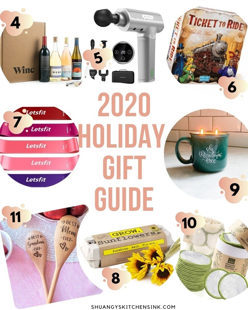 2020 Gift guide that contains a collection of simple and fun gifts that is perfect for quarantine life, new home chefs, home fitness junkies and more.