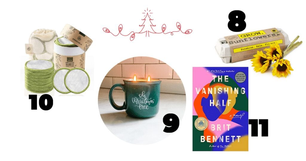 This gift guide includes reusable cotton pads with green lining, a green camp fire mug with a scented candle inside, a sunflower growing kit that is packaged in an egg carton and a best selling book.