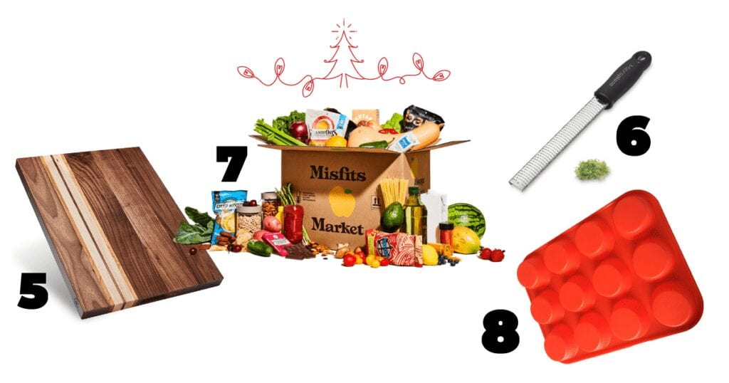 This gift guide includes a solid wooden reversible cutting board, a veggie subscription box, a zester and a red silicone muffin pan.