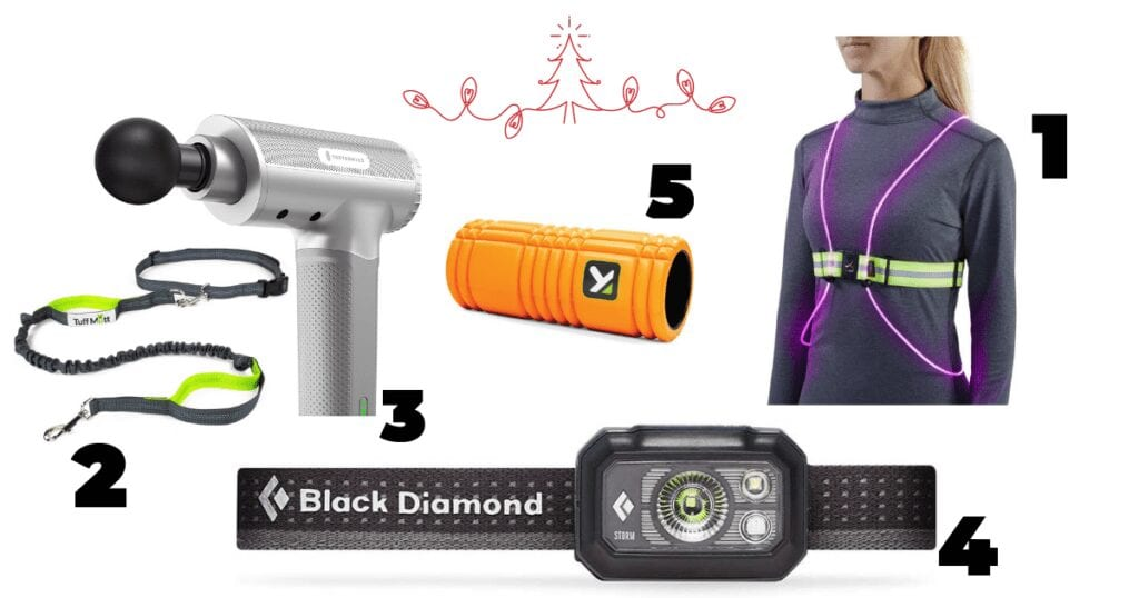This is a collage for a gift guide including a massage gun, a handsfree dog leash, an orange foam-roller, a black diamond headlight and a self-glowing reflective vest for running.