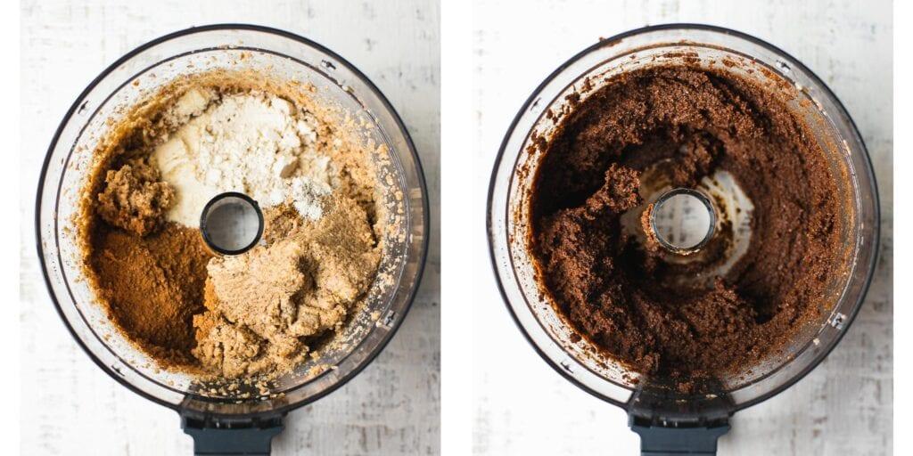 A food processor with cashews, cacao powder, coconut flour and dates