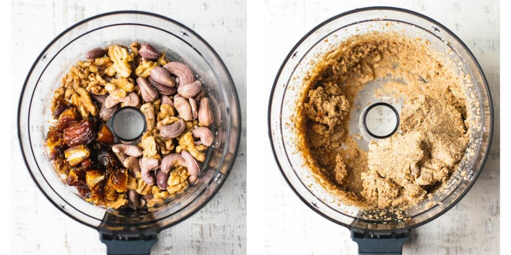 a food processor with nuts and dates. Second picture it has been puled together to a dough