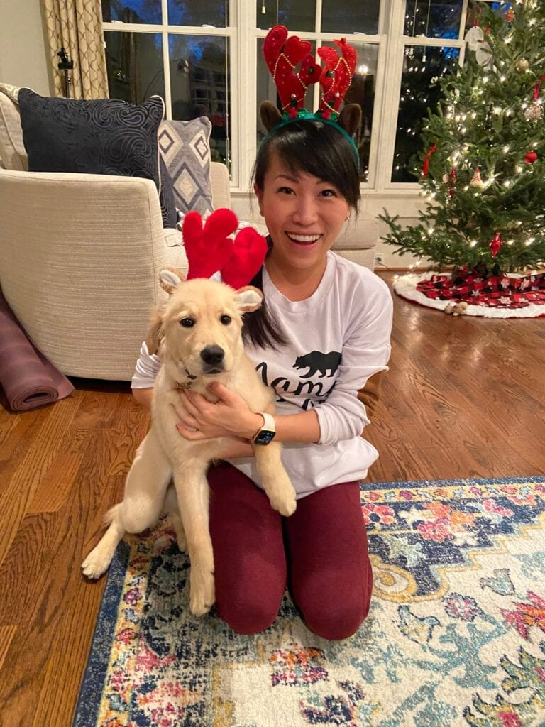 Shuangy's Kitchen food blogger and her golden retriever puppy Biscuit