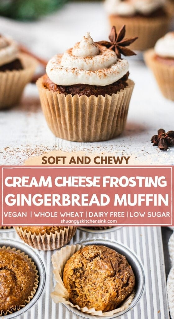A piece of gingerbread muffin topped with cashew cream cheese frosting is sitting in front of a Christmas tree. There are more of these vegan muffins in the background.