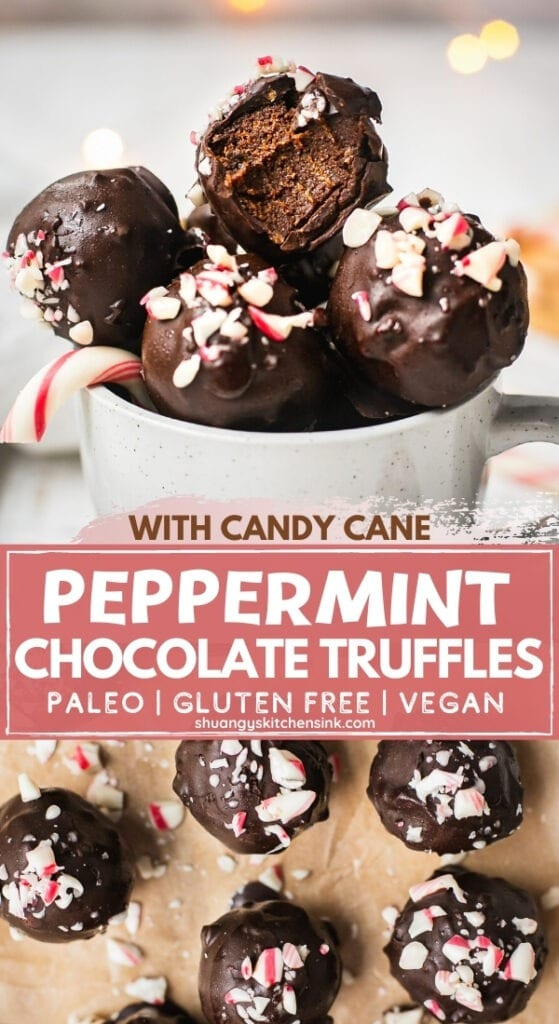 A batch of paleo peppermint chocolate energy balls topped with crushed candy canes are on a piece of parchment paper.