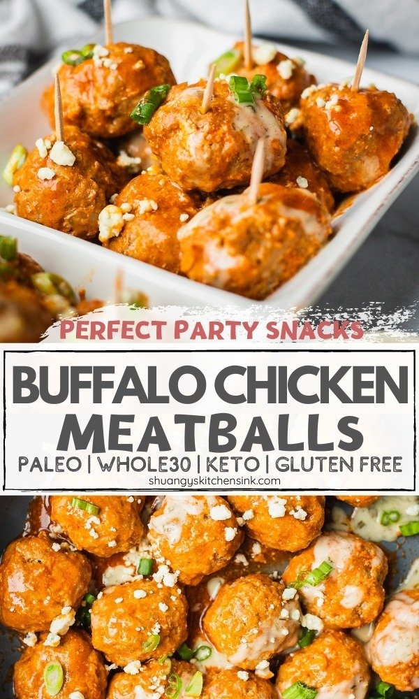 A serving dish of healthy buffalo turkey meatballs topped with scallions, blue cheese and ranch dressing.
