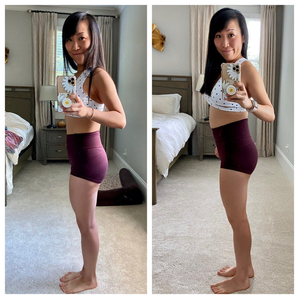 Food blogger Shuangy's comparison photo between 4 weeks and 10 weeks pregnant.