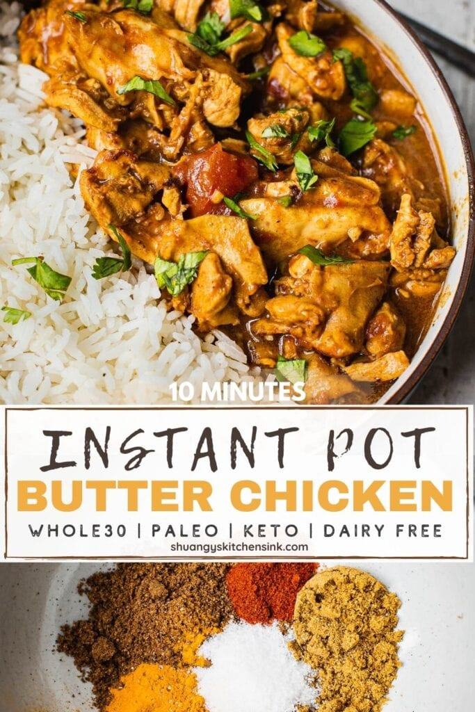 A bowl of instant pot butter chicken coconut milk with jasmine rice.