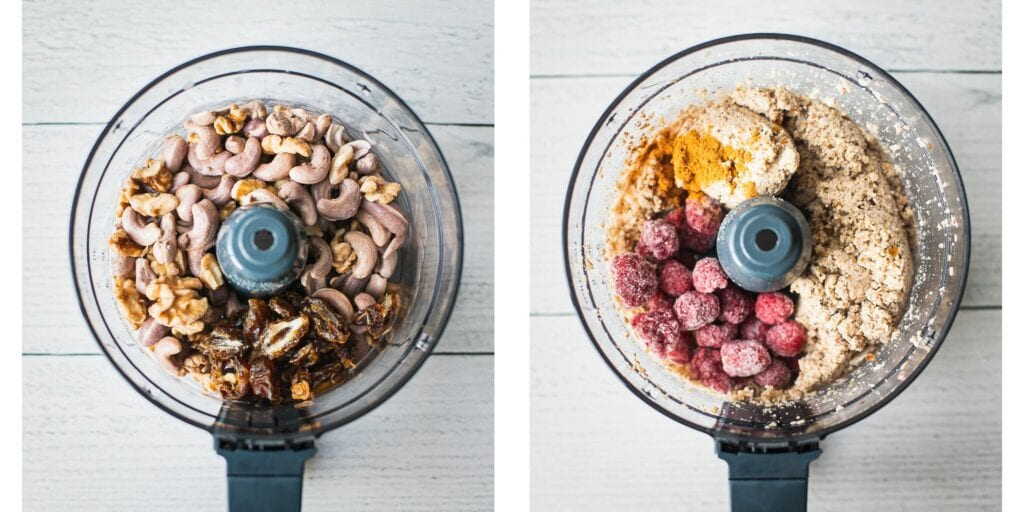 on the left picture there is a food processor with walnuts, medjool dates, and cashews. On the right picture there is raspberries added to the mixture