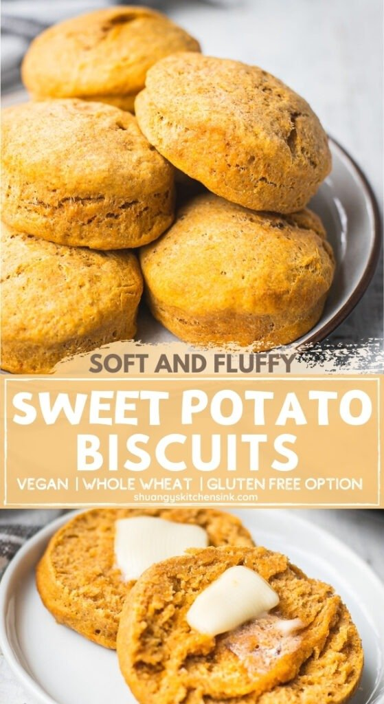 A plate of sweet potato vegan biscuits that appears to be soft, fluffy and delicious. One of the gluten free vegan biscuits are cut in half and being served with plant based butter.