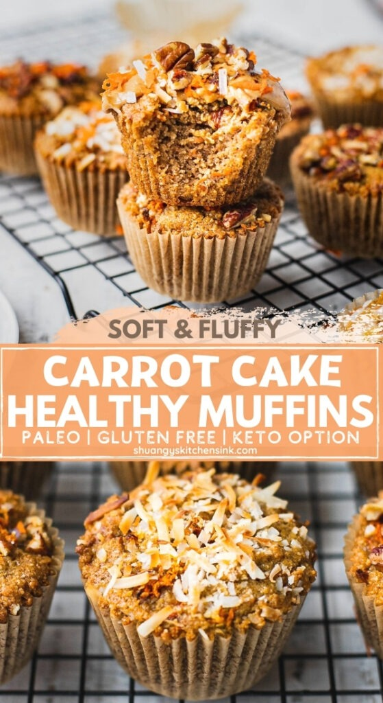 A stack of healthy carrot cake muffins. There is a bite in the top gluten free carrot muffin. The texture appears to me soft and fluffy.