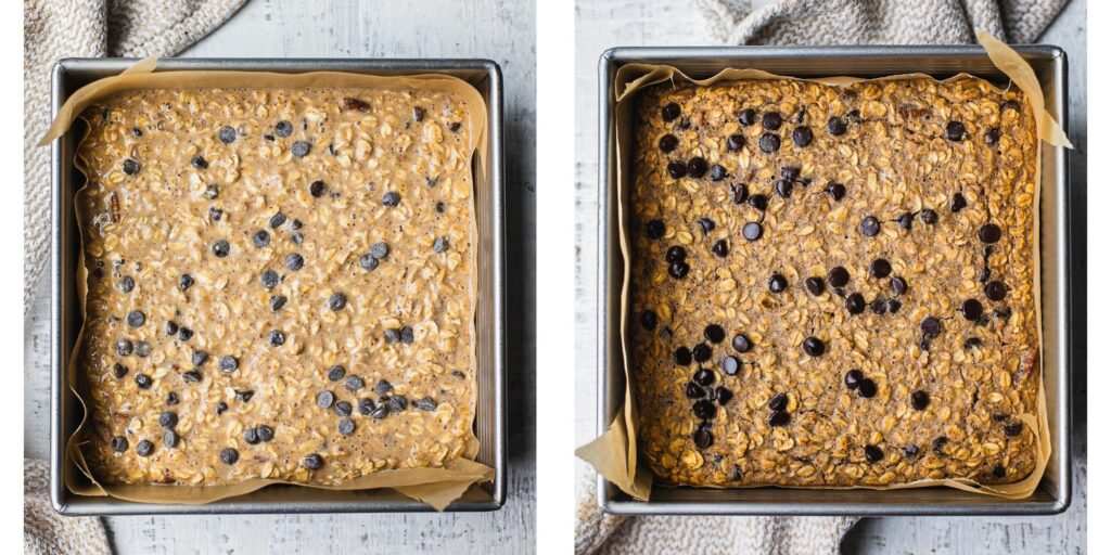 Step by step instruction on how to make peanut butter banana oatmeal bars.