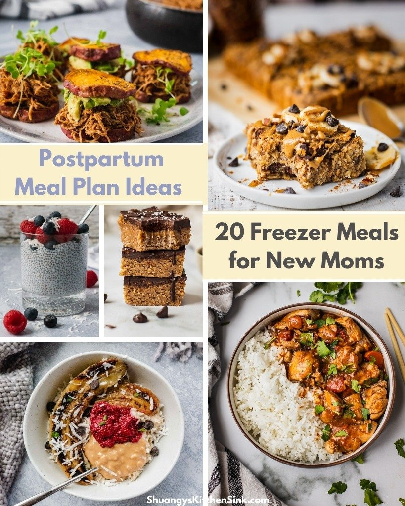A list of my favorite healthy, delicious freezer meals for new moms. Easy and nutritious meal plan, perfect for the whole family to enjoy.
