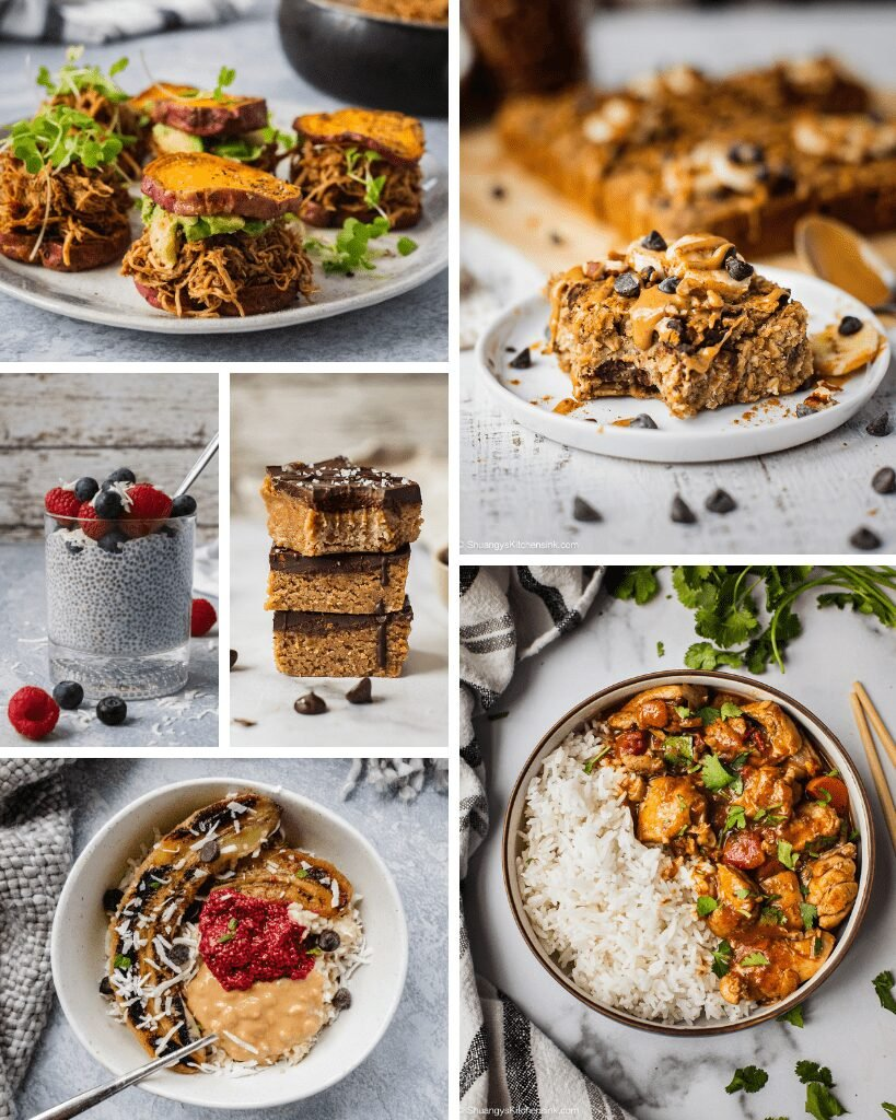 A collage of freezer friendly meals for new moms. There are pulled pork sweet potato sandwiches, chia pudding, peanut butter bars, banana oatmeal bake, chicken stir-fry and overnight oatmeal.